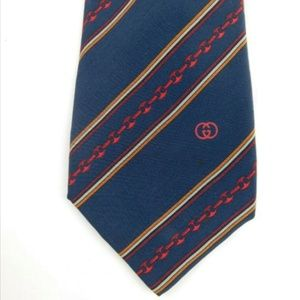 Gucci Vintage Silk Chain Logo Neck Tie